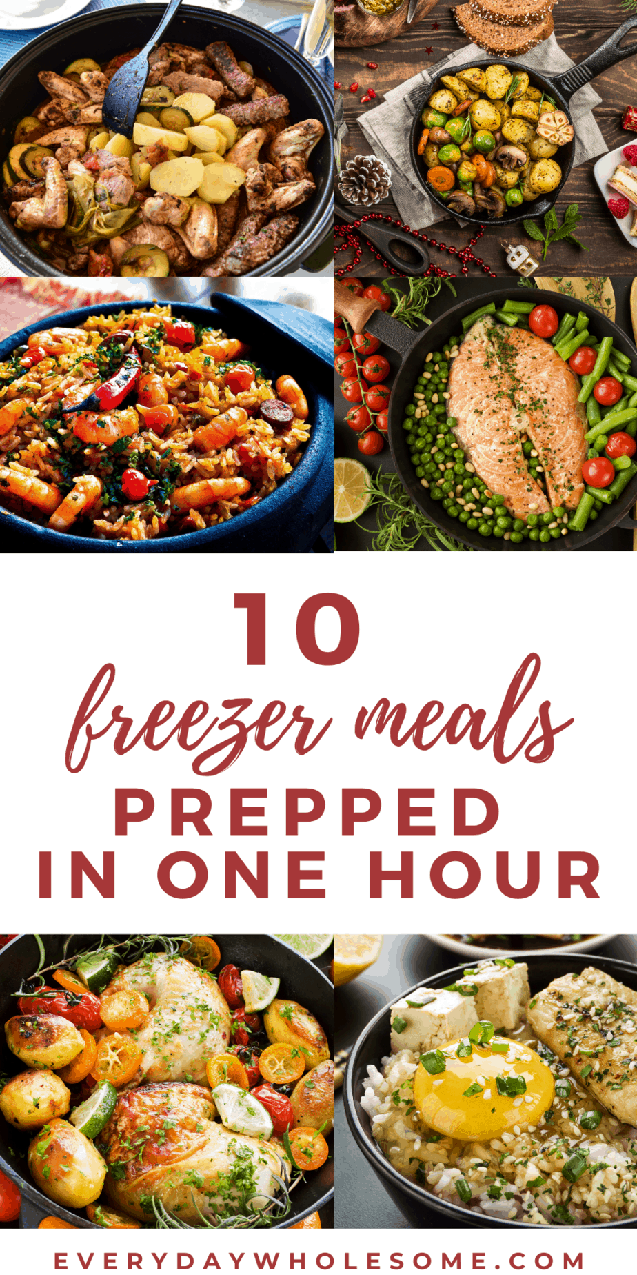 10 freezer meals prepped in one hour pin