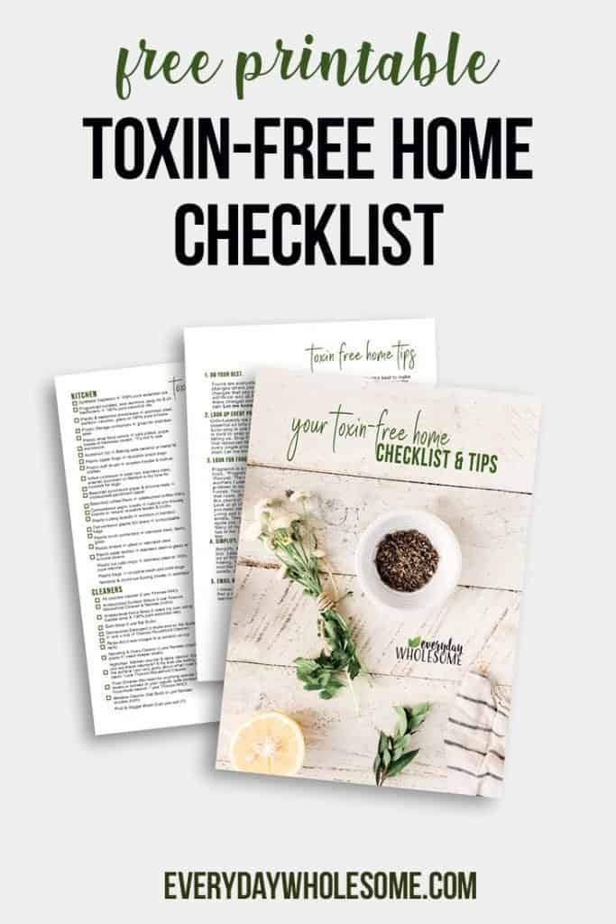 Free printable checklist for nontoxic, chemical free, toxin free, natural cleaning supplies, makeup, nails, hair care, beauty & skincare DIY home recipes.