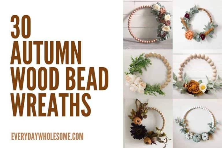 30 Fall Wood Bead Wreaths for Autumn