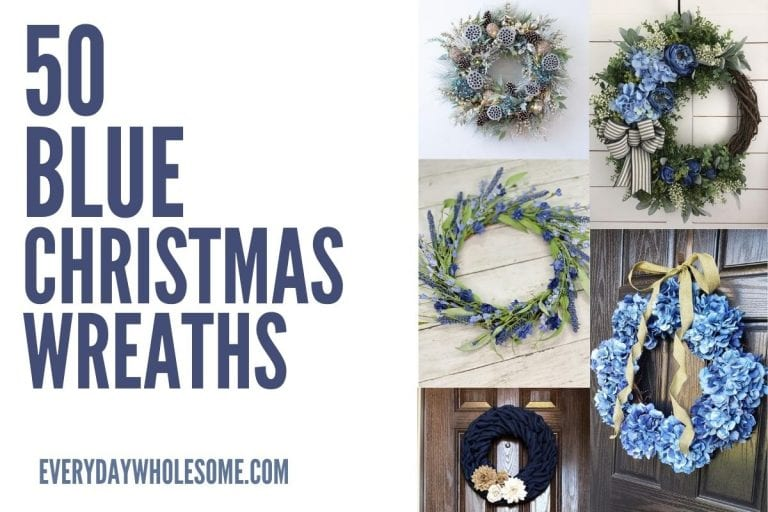 50 Blue Wreaths for Christmas, Winter, Holiday Home Decor