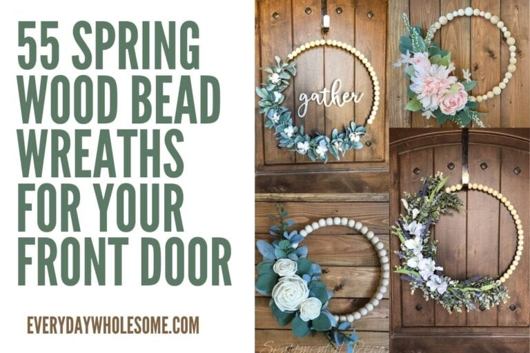 55 Farmhouse Spring Wood Bead Wreaths For Your Front Door