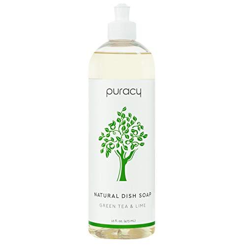 Puracy Natural Dish Soap, Green Tea & Lime, Liquid Dishwashing Detergent