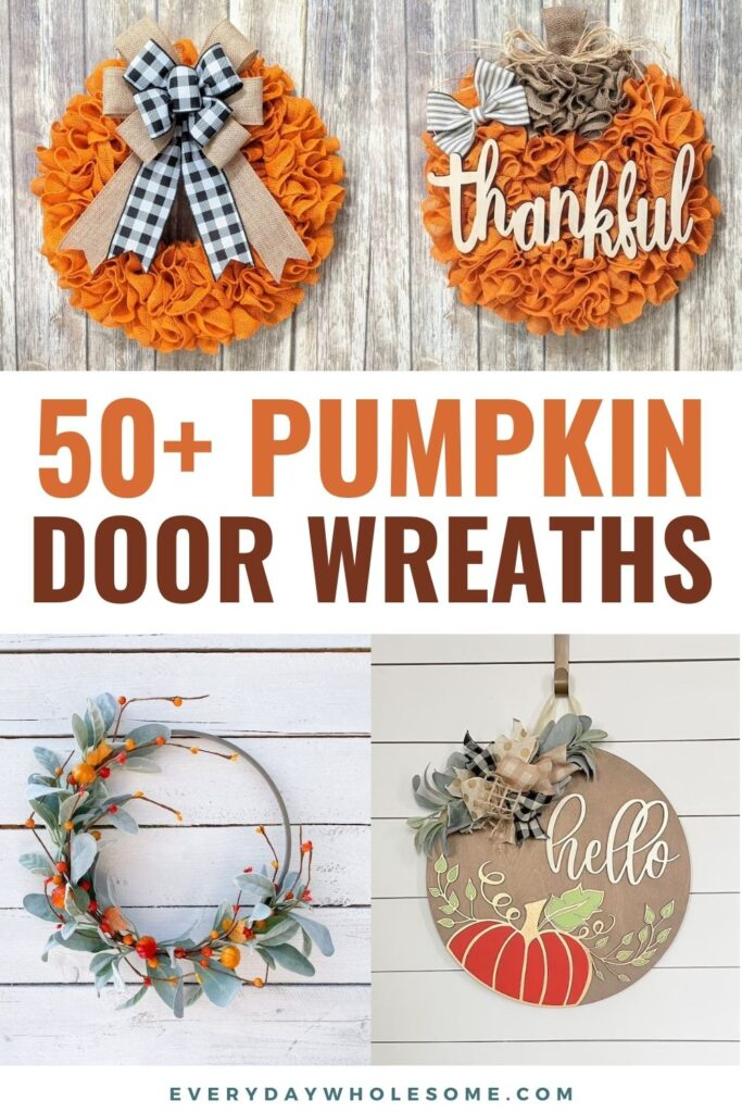 Pumpkin Fall Wreaths. Fall wreaths for front door. Fall wreath Ideas. Fall wreaths for front door DIY. Fall decor ideas for the home DIY, fall decorations, fall decorating with pumpkins & pumpkin theme. Pumpkin autumn wreaths as decor for front door, front porch, living room, farmhouse kitchen. #halloweendecorations #halloweendecor #fallwreath #fallwreaths #falldecor #falldecorDIY #frontporch #wreaths #pumpkins #halloween #falldecorideasforthehome #falldecorations #falldecorating #farmhousedecor
