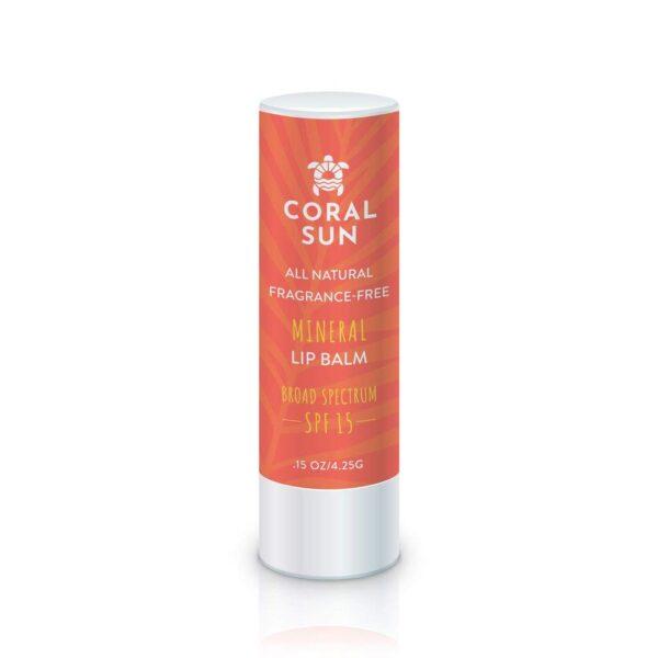 Coral Sun Mineral Lip Balm, Fragrance-Free, SPF 15