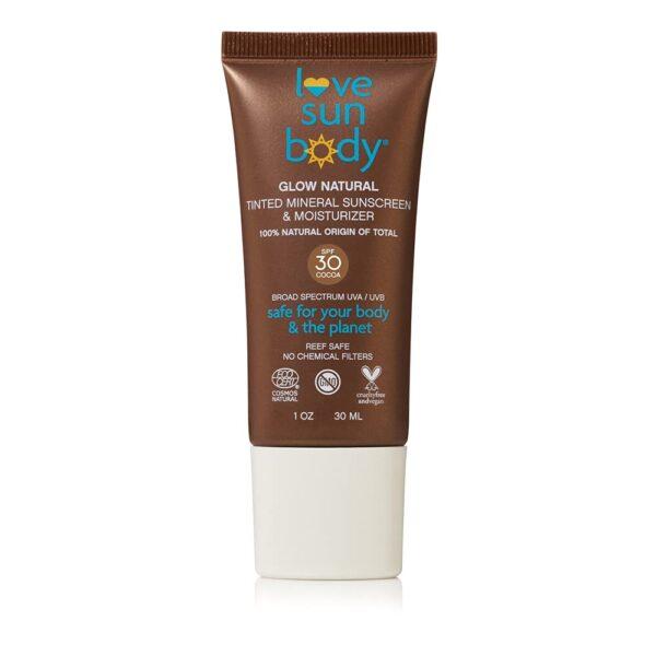 Love Sun Body Glow Natural Tinted Mineral Sunscreen & Moisturizer Lotion, SPF 30