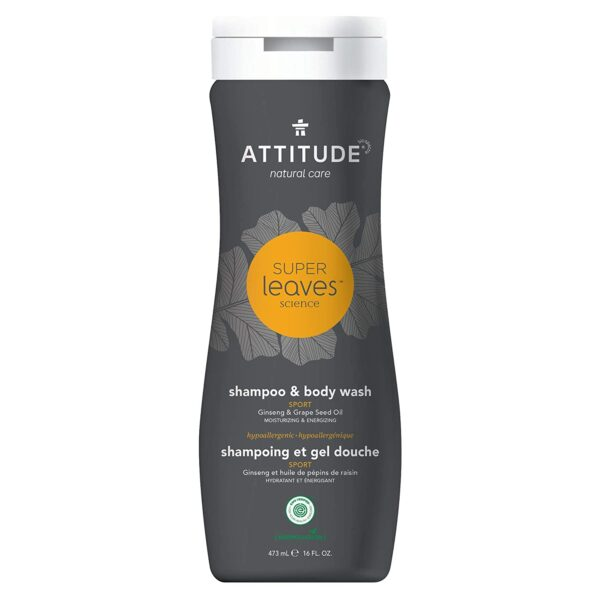 *ATTITUDE Super Leaves Natural Shampoo & Body Wash 2-in-1 – Sports