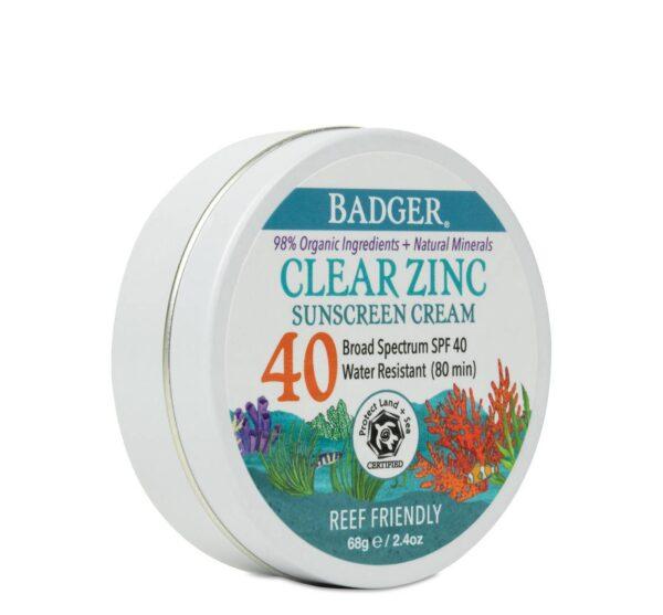 Badger Clear Zinc Sunscreen Cream, SPF 40