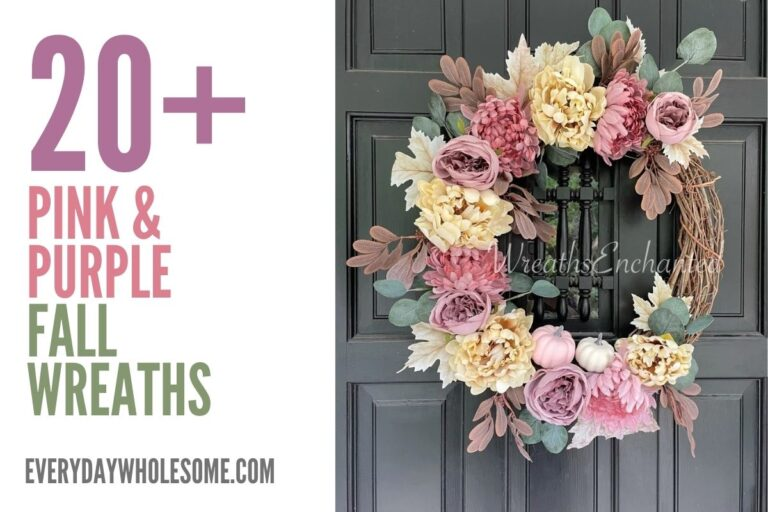 20 Pink & Purple Fall Wreaths for your Autumn Front Porch Decor Inspiration