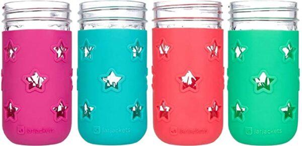 Jar Jackets Silicone Mason Jar Protector Sleeve (replaces plastic kid cups)