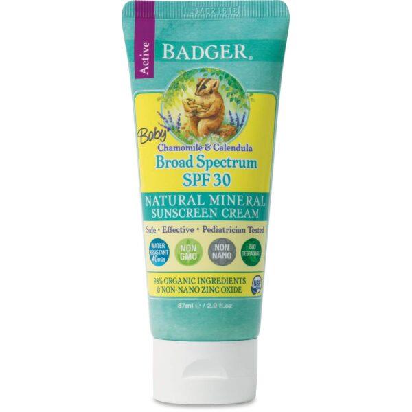 Badger Baby Active Sunscreen Cream, Chamomile & Calendula, SPF 30