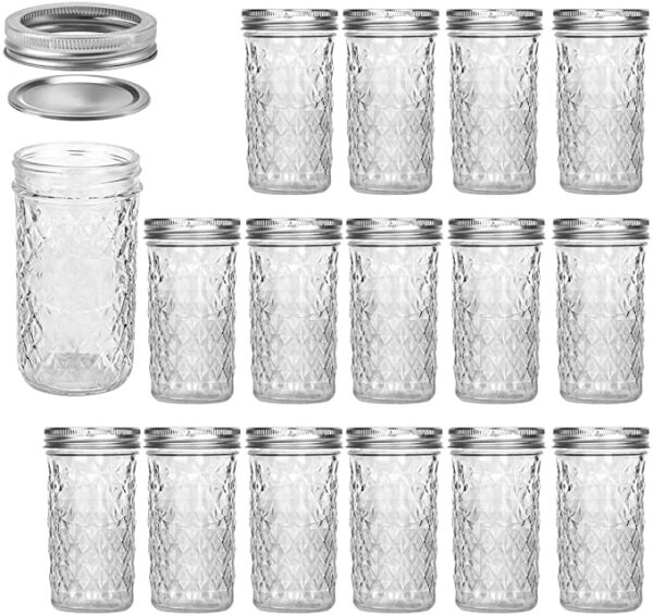 12 oz Jelly Canning Mason Jars (replaces plastic cups)